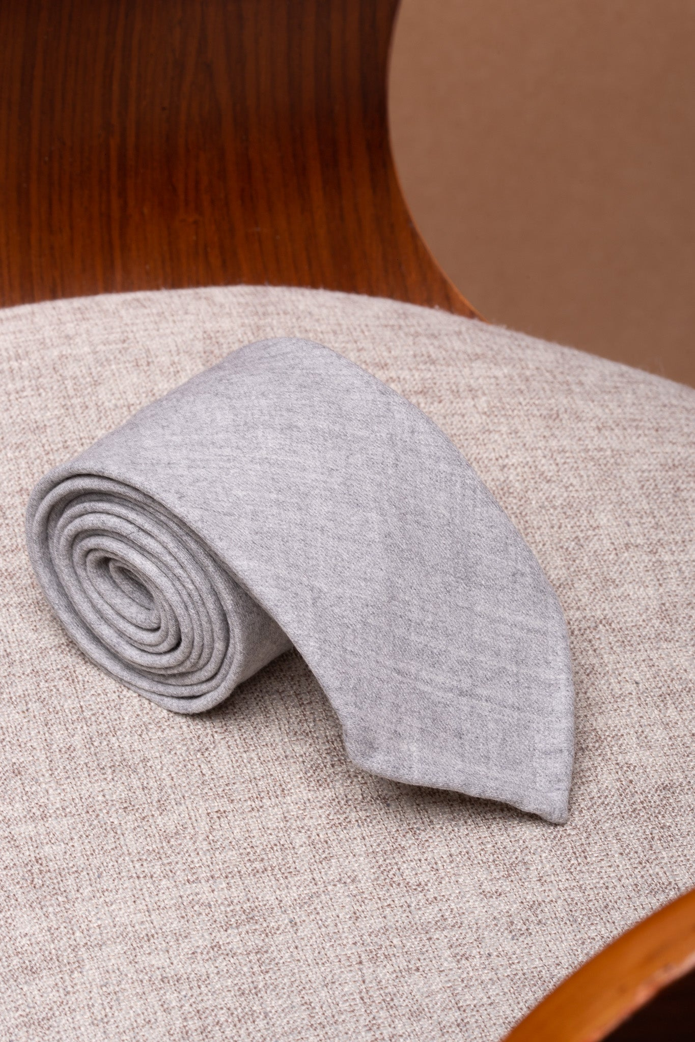 Light grey flannel tie - Hand Made In Italy