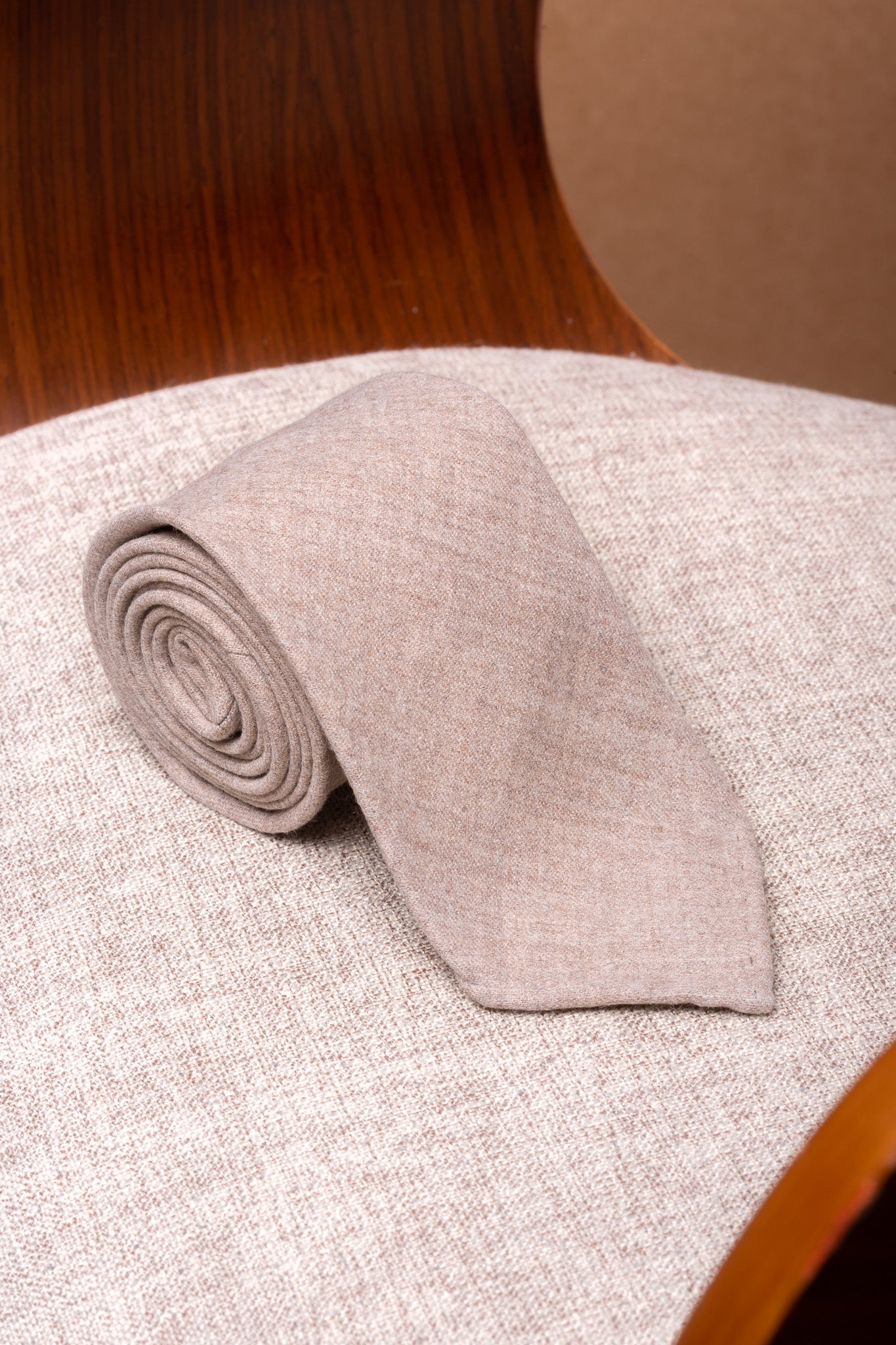 Beige flannel tie - Hand Made In Italy