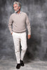 TAUPE RIBBED CREW NECK – Made in italy