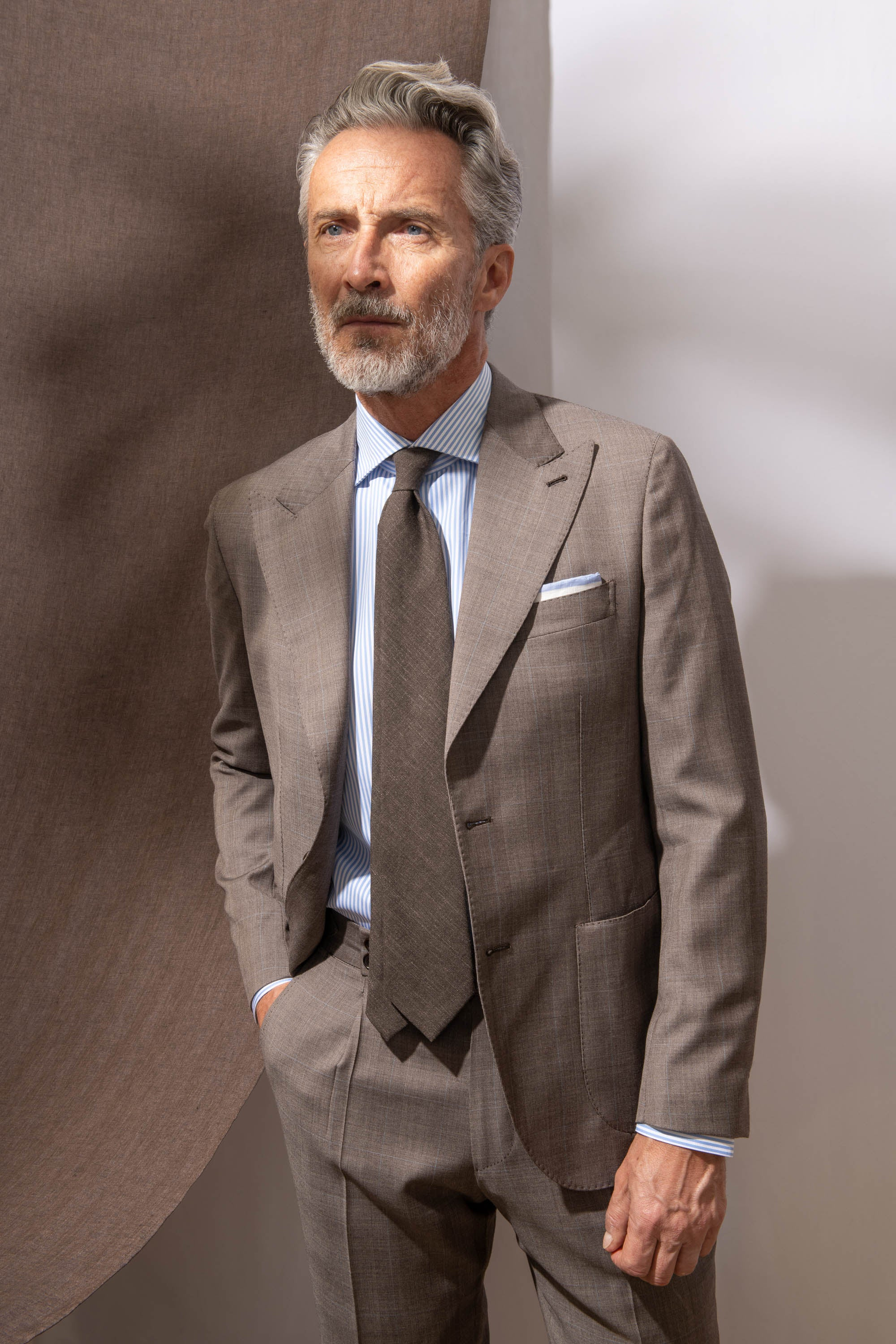 "Tobacco prince of wales suit ""Soragna Capsule Collection"" - Made in Italy"
