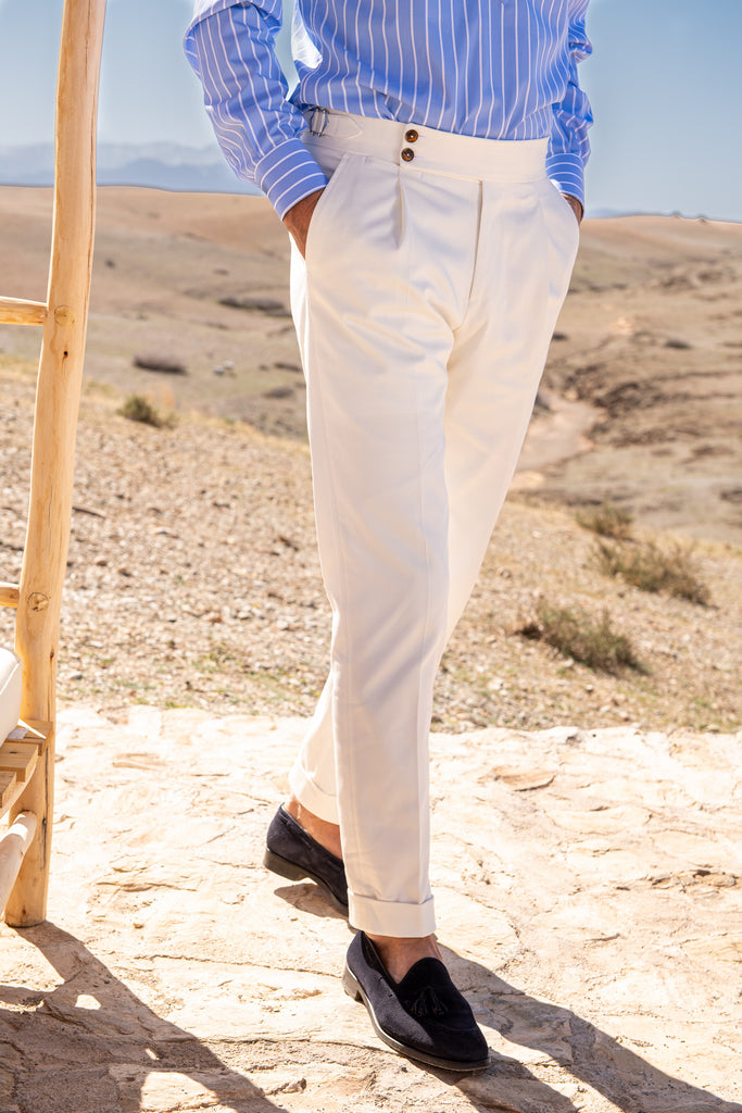 "White cotton trousers  ""Soragna Capsule Collection"" - Made in Italy - PREORDER"