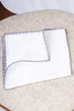 White linen pocket square with grey and cognac edges  - Made in Italy