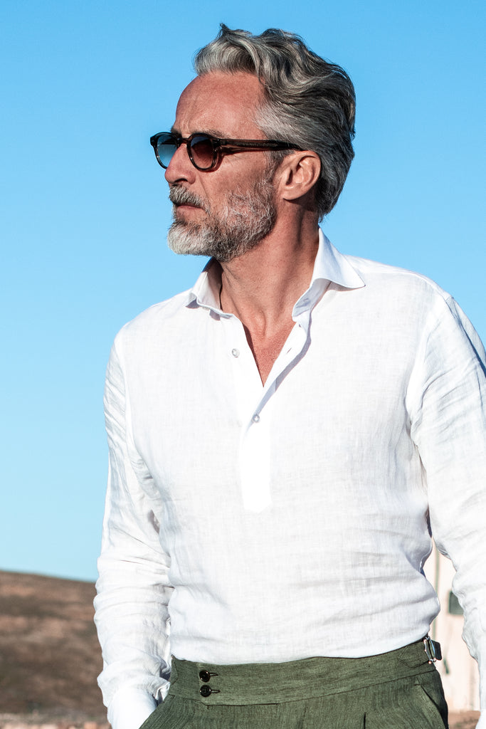 White linen popover shirt - Made in Italy - PREORDER