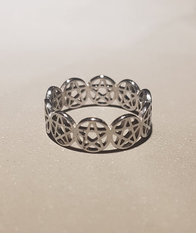 Stainless Steel Pentacle Ladies´ Ring