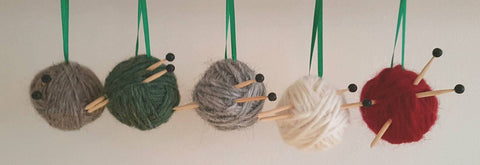 Decorative Bauble - Knitting Theme - Icelandic Wool/Lava