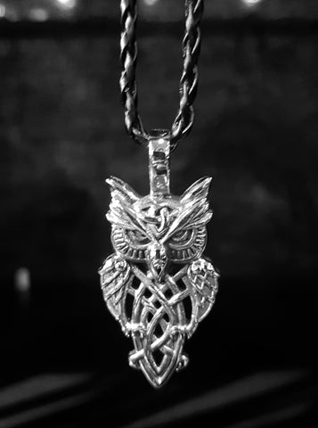 Stainless Steel Viking Owl Pendant