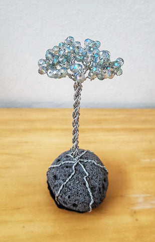 Miniature Lava Tree - Light Pale Blue Crystals