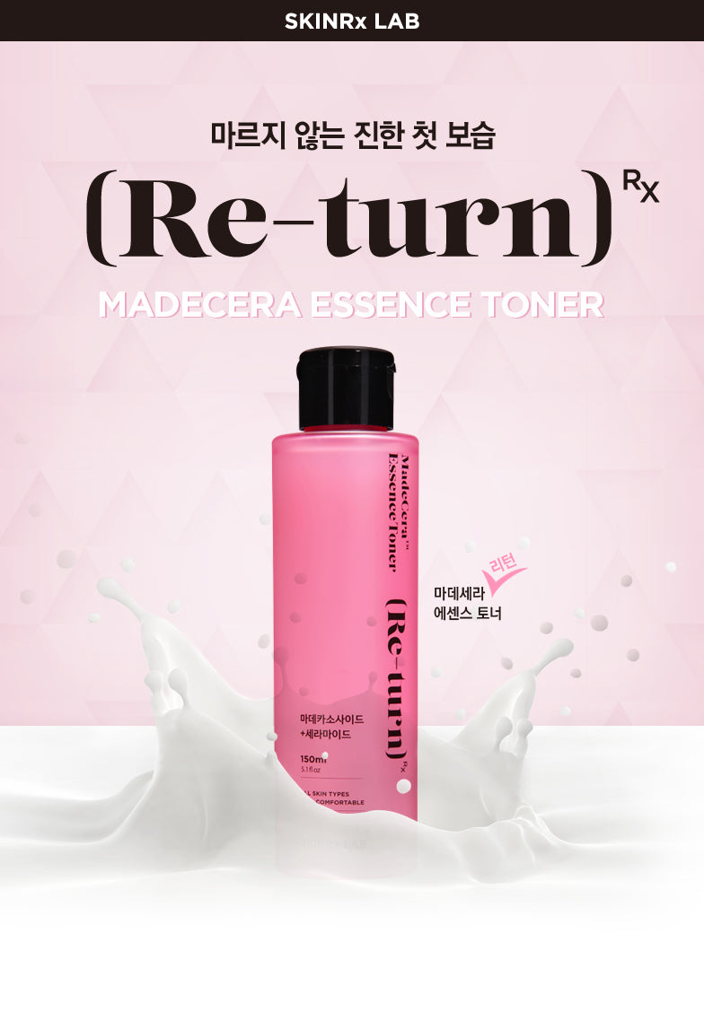SKINRx LAB MadeCera Essence Toner contains a powerful combination of naturally-fermented ceramide and ancient herbal remedy, madecassoside. It functions as a three in one treatment: Moisturizing + Soothing + Brightening  MadeCera Essence Toner completely moisturizes skin with Ceramide. It Re-turns sensitive skin to a healthy balance with Madecassoside and high-purity Teca. It also Re-Turns skin to clear and bright skin with Niacinamide.  150 mL Made in Korea