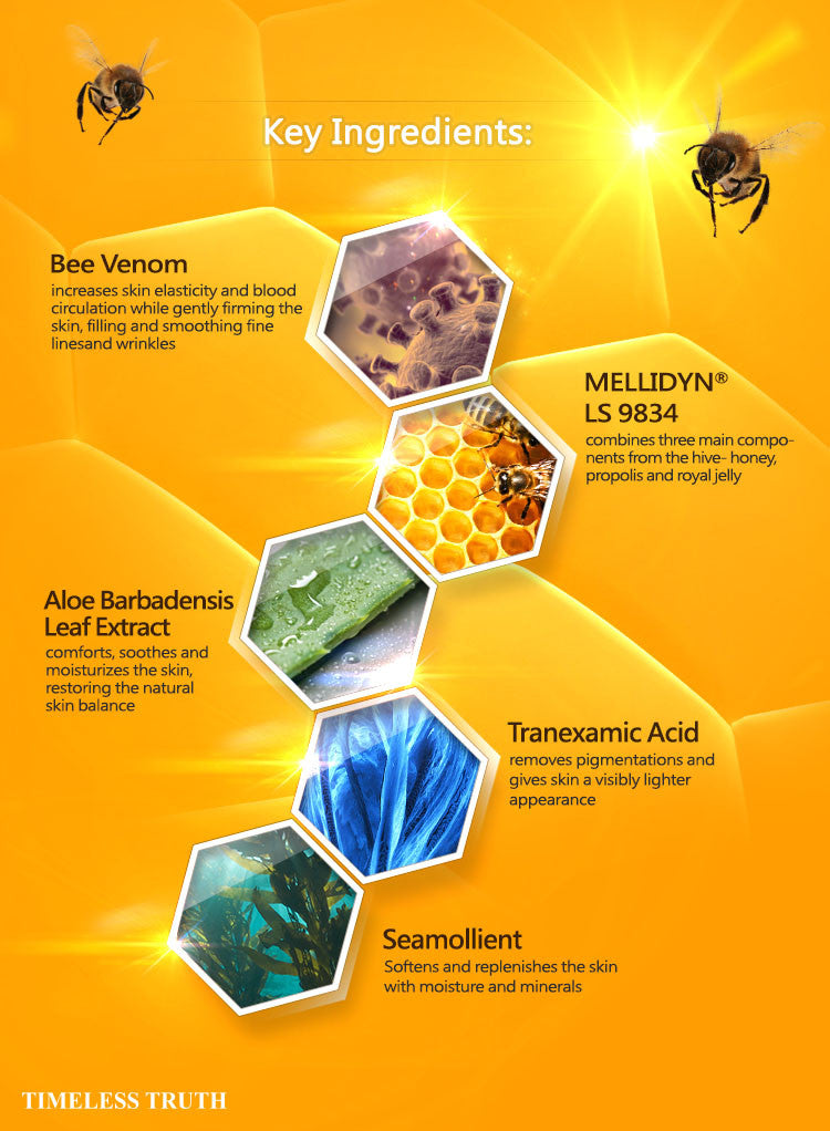Timeless Truth TT Mask Bee Venom Miracle Mask Bee Venom stimulates the body's production of collagen and elastin to help smooth, lift and tighten the skin. The venom also contains a compound called Melittin, which has been shown to have anti-inflammatory and anti-bacterial properties.