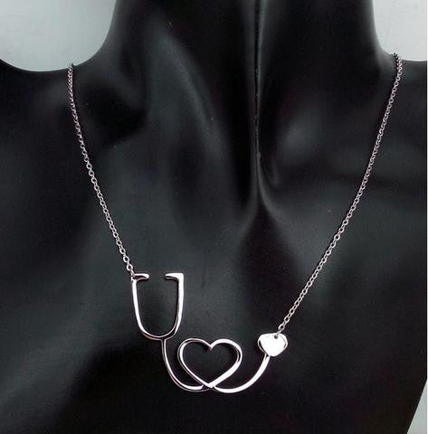 MEDICAL STETHOSCOPE HEART COLLAR NECKLACE - ZUNARIS