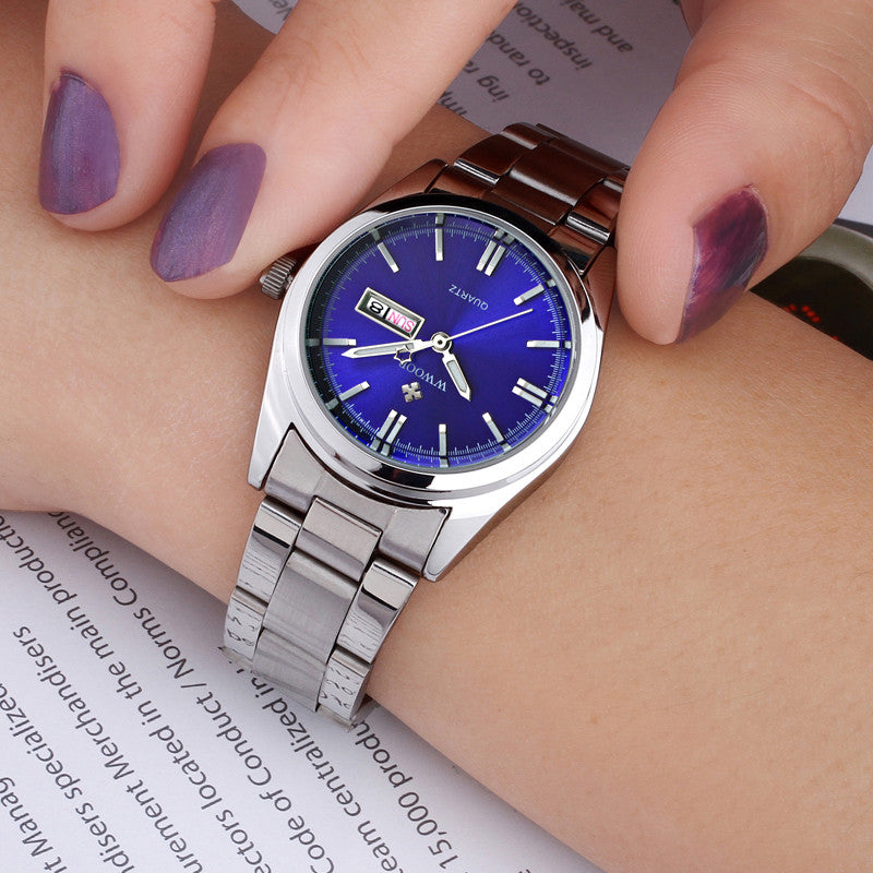 Date Day Clock Stainless Steal Ladies Fashion Watch