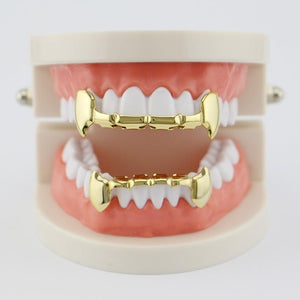 14K Gold Plated  Vampire Gold Teeth Grillz  Set Top and Bottom-GKandaa.net
