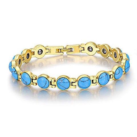 "18K Gold Plated Round Cat's Eye/Turquoise Magnetic Therapy Bracelets 7.8"" Link Chain-GKandaa.net"