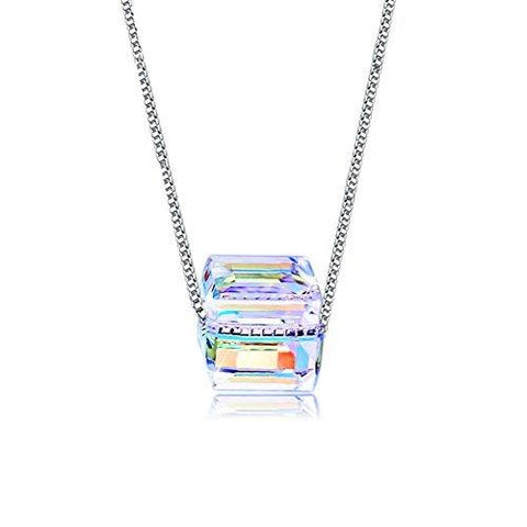 Austria Cube Crystal Necklace, Cat Eye  S925 Sterling Silver Sugar Color Square Necklace-GKandaa.net