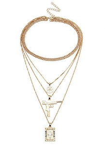 Choker Statement Bib Necklace for Women Girl Set Cross Long Chain Crystal Drop Pendant (Peace Gun Gold W)-GKandaa.net