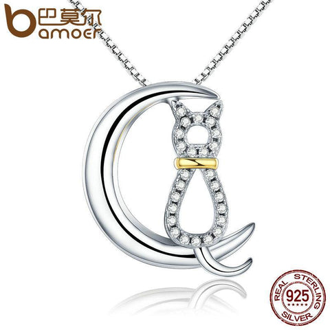 Authentic 925 Sterling Silver Fashion  Cat Moon Necklaces-GKandaa.net