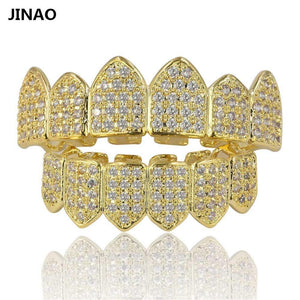 Vampire Fang Set CZ Grillz 18k Gold Plated and Silver 2 Tone Teeth - GKandaa.net