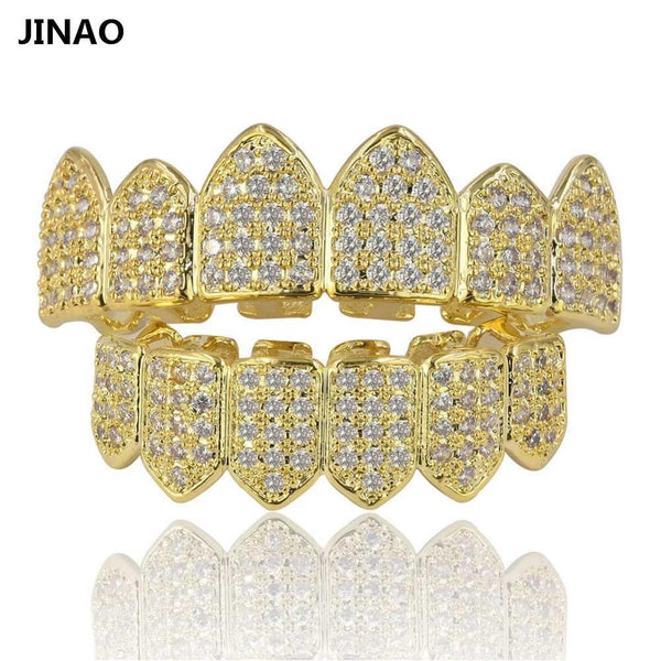 JINAO Hip Hop Teeth Grillz Pure Gold Color Plated Micro Pave CZ Stones Top & Bottom GRILLZ Mouth Teeth Grills Sets Ship From US - Free + Shipping - GKandaa.net