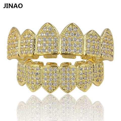 Vampire Fang Set CZ Grillz 18k Gold Plated and Silver 2 Tone Teeth-GKandaa.net