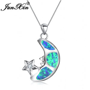 Moon Star Pendant White Blue Fire Opal Long Moon Necklaces 925 Sterling Silver Filled-GKandaa.net
