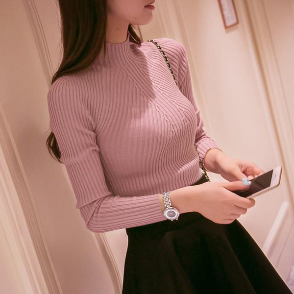 Women's Pullovers high elastic slim sweater-GKandaa.net