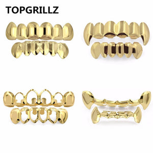 Gold Teeth Party accessories  Grillz Vampire Fangs 14k  Plated Set - GKandaa.net