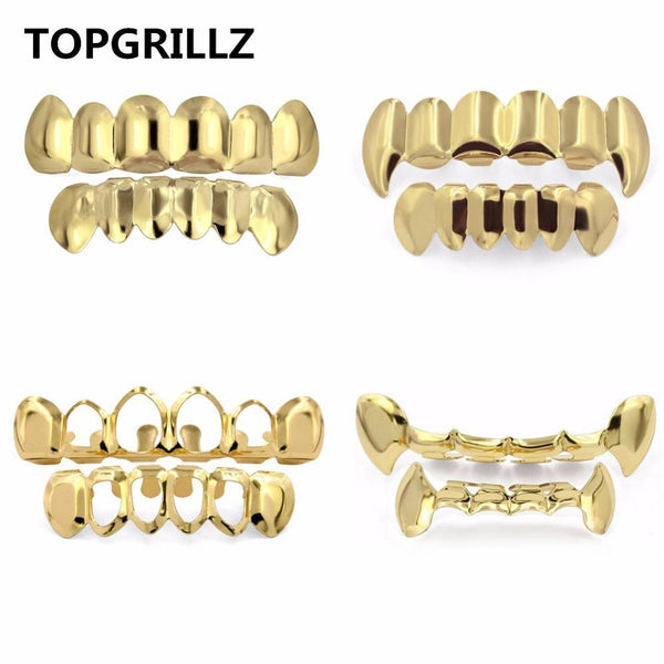 TOPGRILLZ Pure Gold Color Plated HIP HOP Teeth Grillz Top & Bottom Grill Set With silicone Vampire Teeth ship from US - GKandaa.net