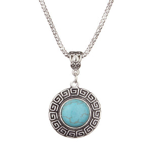 3 Size Round  Pendant Turquoise Necklaces