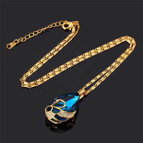 Necklaces Crystal 18K Real Gold Plated Blue/Red Water stone Gift-GKandaa.net