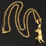 Cute Cat Necklace Pet Jewelry 18K Gold/Platinum Plated Rhinestone Trendy Pendant Necklace - GKandAa - 3