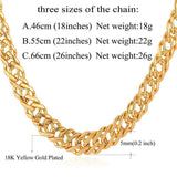 "Gold Chain Necklace Classic Men Jewelry With ""18K"" Stamp 6 MM 3 Sizes - GKandAa - 1"