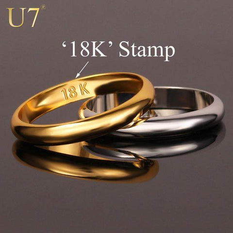 "Rings Gold s With ""18K"" Stamp Quality Real Gold Plated / Classic-GKandaa.net"