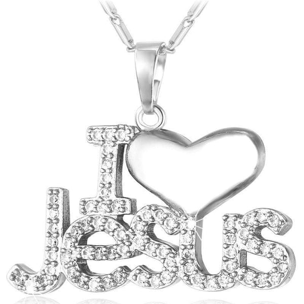 "Necklaces Jesus Piece Heart / 18K Gold Plated/Platinum Christia ""I-GKandaa.net"