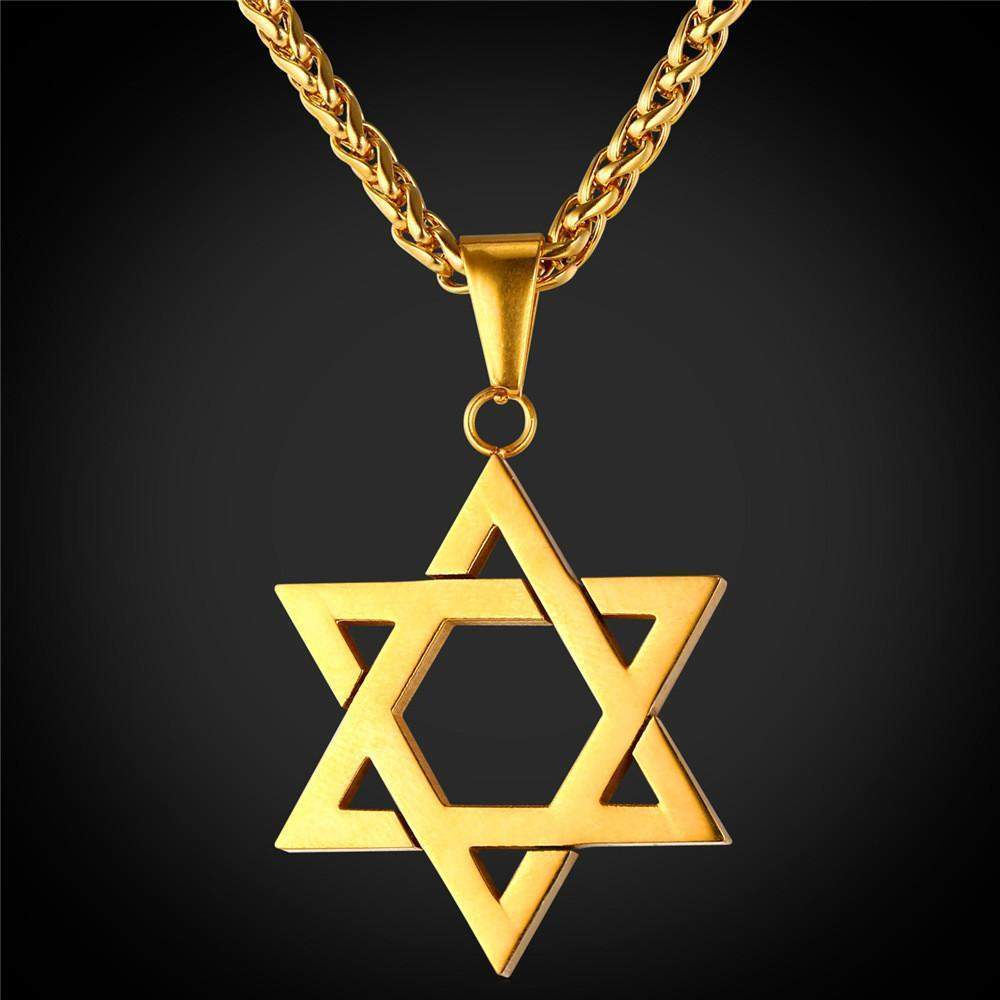 Necklaces Mage of David pendant lace 18K Gold plated stainless Steel-GKandaa.net
