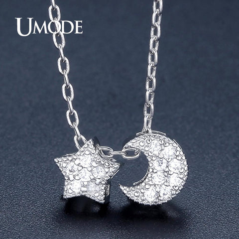 Star and Moon Necklaces  Link Chain   White Gold CZ Colar-GKandaa.net