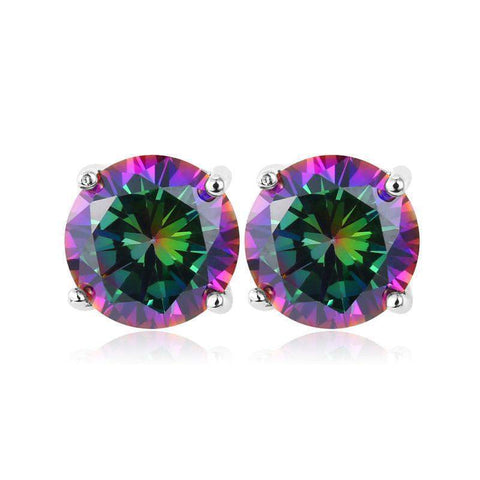 Lady Earrings Zircon Earrings Platinum/18K Real Gold Plated Luxury Mystic Topaz 2.75 Carat Cubic - GKandAa - 8
