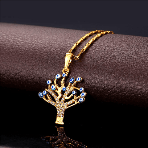 Necklaces Evil Eye pendants 18K Real Gold Plated great Tree pendant-GKandaa.net