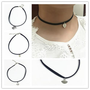 Choker Necklace Outfits   Vintage Leather  Round Metal Pendant-GKandaa.net
