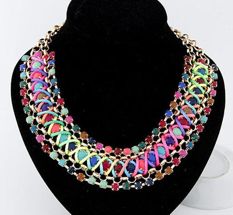 Vintage Beaded Collar color Metal discus geometric colorful lovely-GKandaa.net