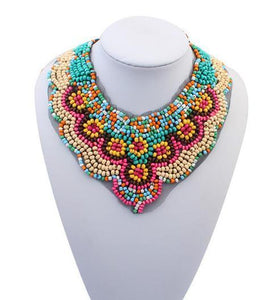 Vintage Beaded Collar Plated Colorful Bead pendant Lace-GKandaa.net