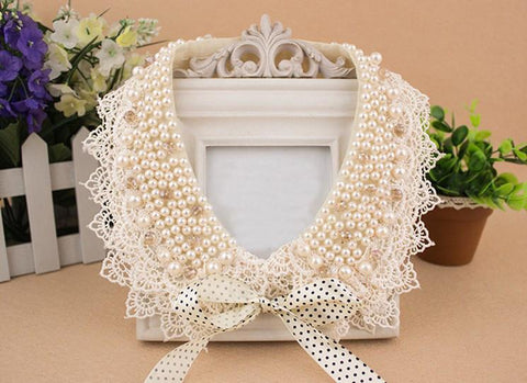 Vintage Beaded Collar 42cm bow fashion pendants jewelry Lace-GKandaa.net