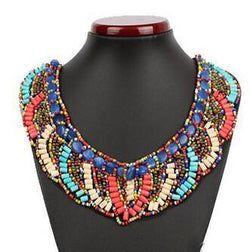 2015 New Bijoux Cotton Vintage Bib Handmade Colorful Wooden Bead Choker Necklace Bohemian ethnic style collar necklaces - GKandAa - 1