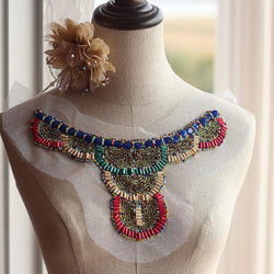Free shipping (2piece/lot ) beaded collar applique, nude fake Collar, costume vintage style collar applique, - GKandAa