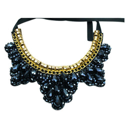 Women Rhinestone Vintage Chunky Collar Beaded Statement Necklace For Women Fashion Jewelry Accessories dark blue - GKandAa