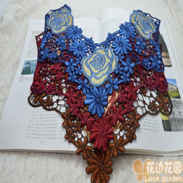 Lace Collar Sewing (1pieces/) 3 ids of Embroidered Polyester Patch Bridal Dress - GKandaa.net