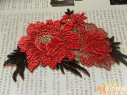 Chinese red flower leaf shape water-soluble cloth clothes clothing sticing GKandAa