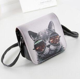 Shoulder Bags PU Leather Cat Wearing Big Glasses L4-1186 Handbags-GKandaa.net