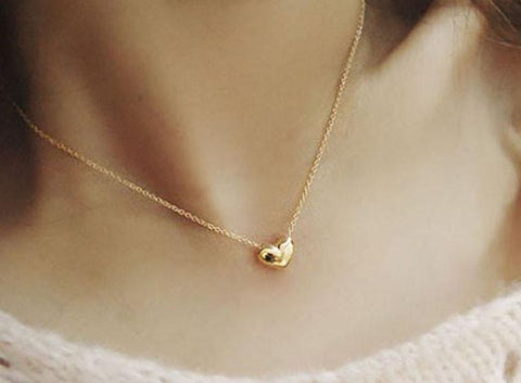 Jewelry IPC Cute Gold Heart Bib Pendant lace Short-GKandaa.net
