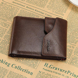 New Arrival Men's Cowhide Wallets Brand Bifold Money Purse Metal Zipper Short And Long Male Removable Card Holder Free Shipping - GKandAa - 1