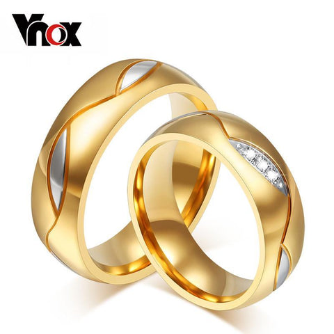 Rings 18K Gold Plated wedding 316l stainless Steel Gifts-GKandaa.net